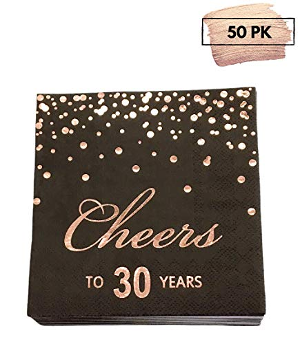Rose Gold Foil Cocktail Napkins with Cheer 30