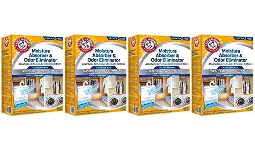 W M BARR FGAH32 2PK 16OZ Arm & Hammer Moisture Absorber & Max Odor Eliminator Hanging Bag, 16 Ounce, 2-Pack, 16 oz, 6 g (Fоur Paсk) (Arm And Hammer Max Odor Eliminator Ingredients)