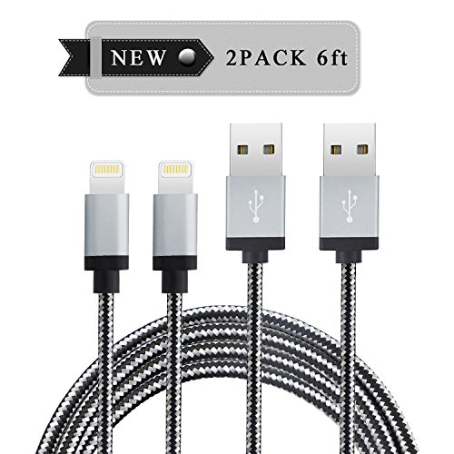 Price comparison product image Marchpower(TM) Charging Cord,  Durable Nylon Braided Charging Wire Fast Charging & Syncing Lightning to USB Cable for iPhone 7 6s 6Plus 6 5s 5c 5 iPad Pro Air iPod 2 Pack 6FT (Silver Black)