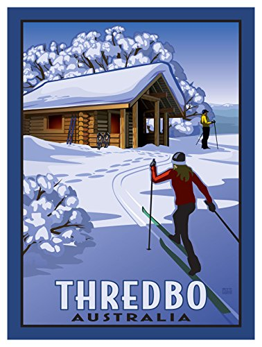 Thredbo New South Wales Australia Cross Country Cabin Giclee Travel Art Poster by Artist Paul Leighton (9 x 12 inch) Art Print for Bedroom, Family Room, Kitchen, Dorm Room or - Mall South Francisco San