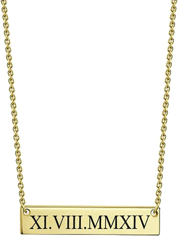 Latigerf Roman Numerals Bar Engraved Chain Necklace for Women Birthday Gift Stainless Steel Jewelry