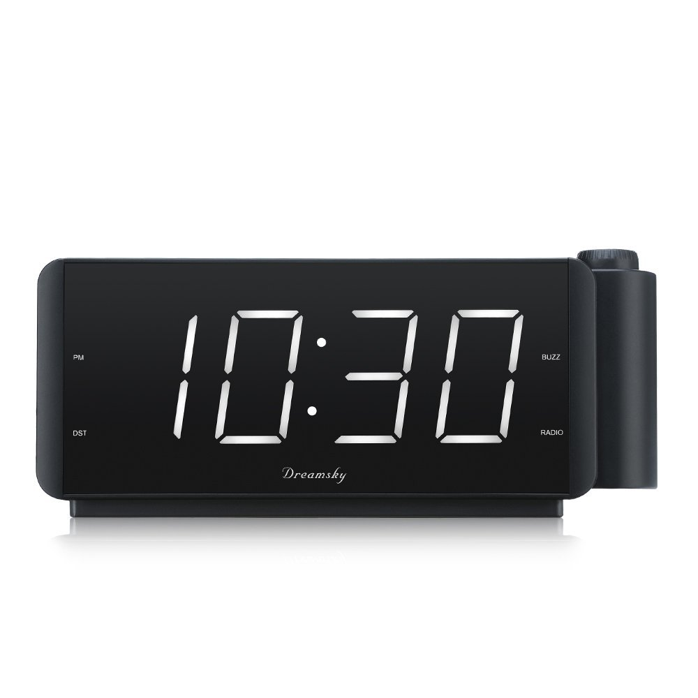 DreamSky Projection Alarm Clock Radio with USB Charging Port and FM Radio, 2'' Large Led Display with Dimmer, Adjustable Alarm Volume, Snooze, Sleep Timer, DST Button, 12 Hrs Display. by DreamSky