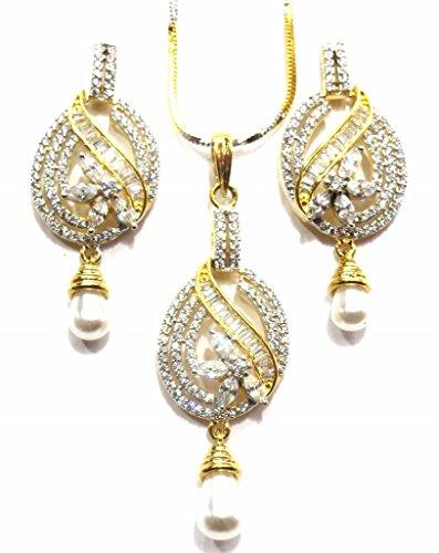Jewelshingar Jewellery Cubic Zirconia Necklace Set For Girls ( 17881-psad ) by Jewelshingar