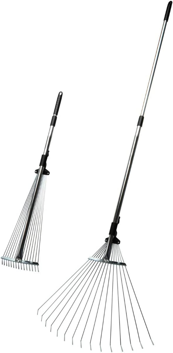 """Kings County Tools Adjustable Garden & Leaf Rake   Collapsing Tines to Work Tight Areas   Telescoping Handle Extends to 5-Feet   Versatile and Lightweight   Expands to a 22"""" Spread"""