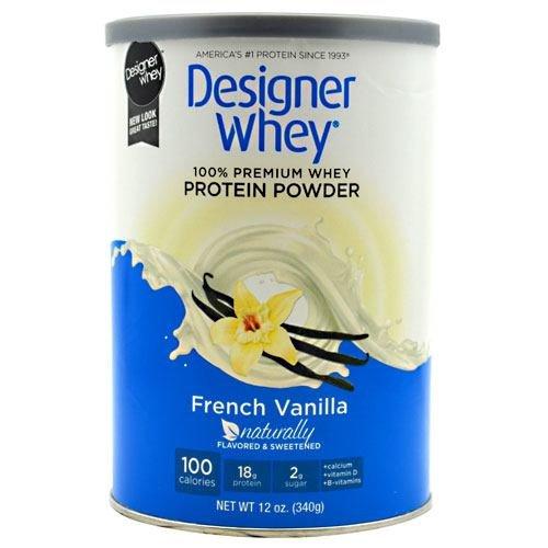 DESIGNER WHEY 100% Premium Whey Protein Powder, Vanille française, de 12 onces (Pack de 2)