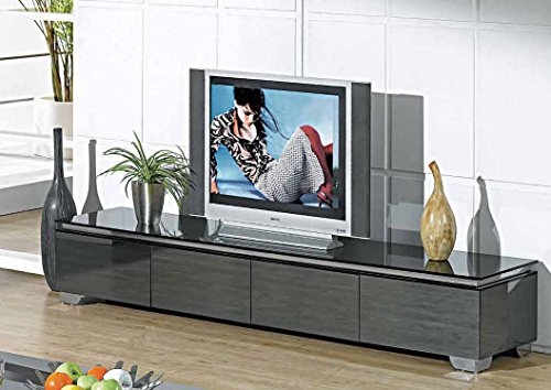 Creative Images International Neo Collection Mirrored Glass Tv Stand With Drawers And Storage Space  Dark Gray
