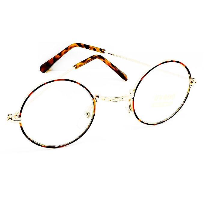Occhiali neutri Hippie - stile TEASHADES John Lennon - montatura da vista ROTONDI uomo donna cult retrò - GOLD oUxQSGlC