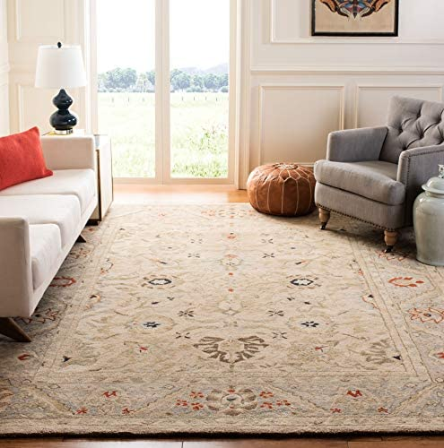 Safavieh Anatolia Collection AN569C Handmade Traditional Oriental Natural and Soft Turquoise Wool Area Rug 9 x 12
