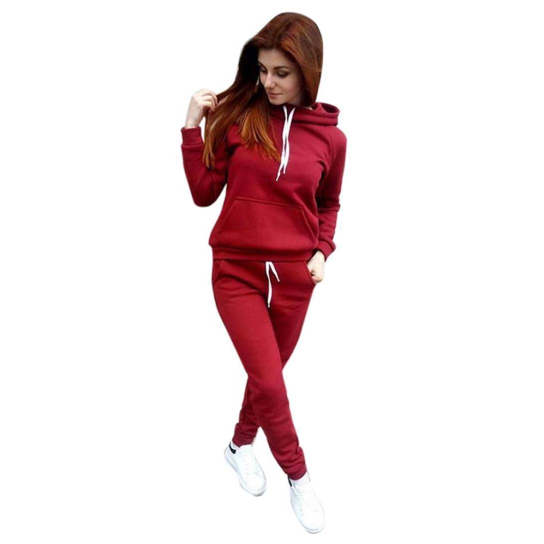Sunward Women's Solid Hoodie and Pants Sport Suits Tracksuits By (Red, S)