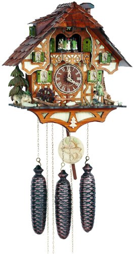 River City Clocks Eight Day Musical Cuckoo Clock with Hunter Moving with Binoculars and Waterwheel