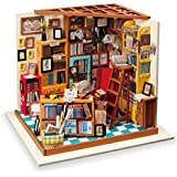 Rolife DIY Miniature Room Set-Woodcraft Construction Kit-Wooden Model Building set-Mini House Crafts-Fashion Library Playset-Creative Birthday Mothers Gift for Boys Girls Women and Friend (02 Library)