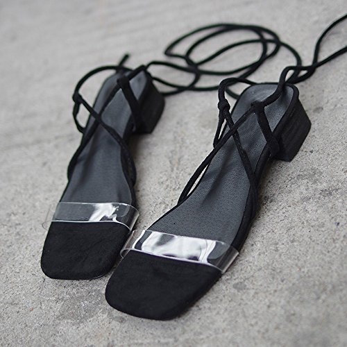 Mode Épais Romaines avec Sexy Chaussures CWJ de des Chaussures Noir BU8qY81pn