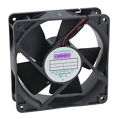 Mechatronics F1238E24B-FS 24V, 119x119x38mm DC Axial Cooling Fan, Ball Bearing, High Speed, High Airflow, Low Noise, 13.5 inch Wire Leads w/Quick Connect fastons, Approved CE, UL, CUL, TUV