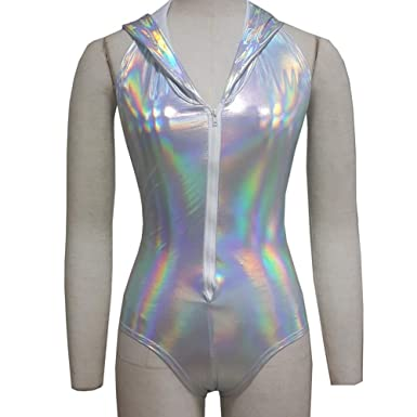 828dd8edb8ba Amazon.com  Pinda Summer Musical Festival Rave Clothes Holographic Hooded  Bodysuit Romper (M