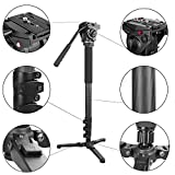 Kamisafe Carbon Fiber Monopod 69''/176cm 4-Section Flip Lock Camera Video Monopod Tripod Legs with Fluid Pan Head /Folding Three Feet Support Stand Base for DSLR Camcorder Shooting Filming