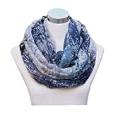 Lucky Leaf Women Lightweight Cozy Infinity Loop Scarf with Various Artist Print (Floral Blue)
