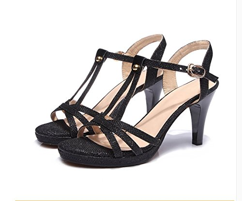 Xing Lin Ladies Sandals Summer New High-Heeled Shoes With Leather Shoes Sequined Thick Non-Slip Women'S Sandals At The End Of Thick Black Gam98tG