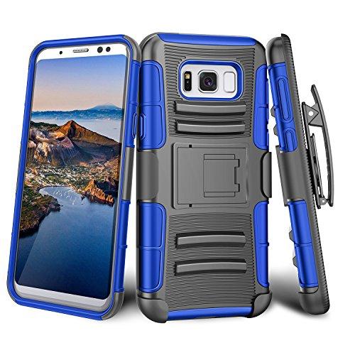 Galaxy S8 Case, TILL [Knight Armor] [Blue] Heavy Duty Full-body Rugged Holster...