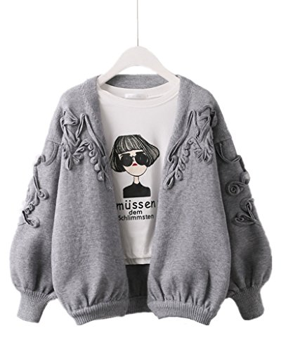 Season Show Womens Knit Sweater Puff Sleeve Open Front Floral Cardigan Sweater Grey