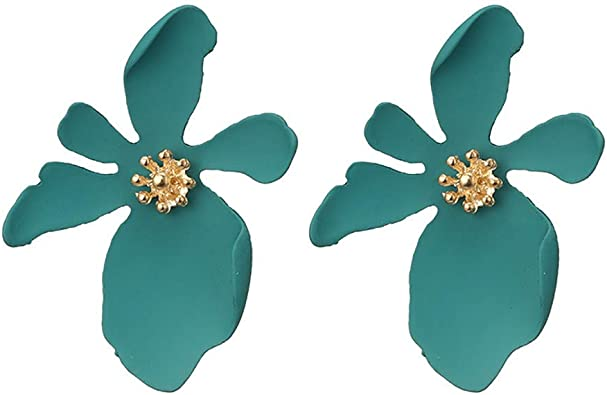 2 Pairs Boho Stud Earrings Acrylic Flower Petal Earrings with Gold Flower Bud for Women and Girls Green and Red