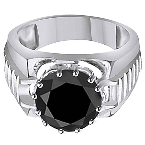 Jewel Zone US 7 Cttw Black Genuine Moissanite Men's Heavy Solitaire Rolex Ring in 10K Solid White Gold Fathers Day Jewelry Gifts