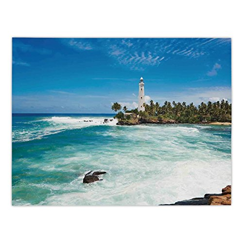 Polyester Rectangular Tablecloth,Lighthouse Decor,Tropical Island Lighthouse with Palm Trees Rocks Wavy Seaside Beach Ocean ,Blue White Green,Dining Room Kitchen Picnic Table Cloth Cover,for Outdoor -