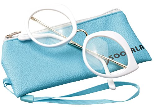 SOOLALA Unique 55mm Lens Cat Eye Reading Glass Stylish Designer Eyeglass Frame, White, +2.0