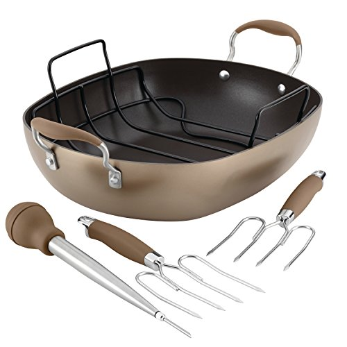 Anolon Advanced Hard-Anodized Nonstick Roaster Set, 16-Inch x 13-Inch Oval, Bronze by Anolon