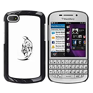 Exotic-Star ( Black Minimalist White Satan ) Fundas Cover Cubre Hard Case Cover para BlackBerry Q10