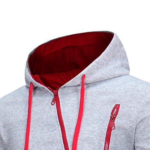 SKY Mens' Color sólido con capucha suéter de los hombres Long Sleeve Hoodie Hooded Sweatshirt Tops Jacket Coat Outwear M~XXXL Gris