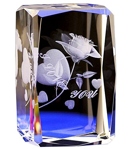Crystal Glass Cube Eagle Model Paperweight 3D Laser Engraving Figurines Feng Shui Souvenirs Crafts (Rose Flower)