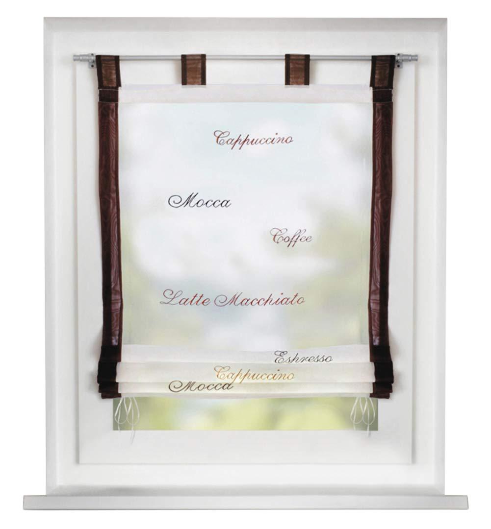 Bailey Jo 1Pièce Store Romain avec Motif Café Rideaux Voilage Raffrollo à Pattes Décoration de Fenêtre Chambre/Café / Cuisine (LxH/60x140cm, Blanc)