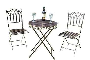 Olive Grove Salon de jardin en métal style bistrot avec coussins ...