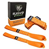 "Rhino USA Soft Loops Motorcycle Tie Down Straps, 10,427lb Break Strength, 1.7"" wide x 17"" long, (Pack of 4) - Orange"