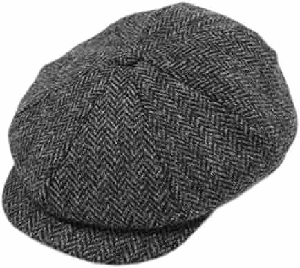 836b82c2311 John Hanly Men s Newsboy Cap 8 Piece Wool Charcoal Herringbone Irish Made