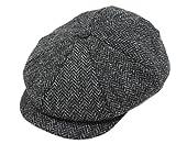 Tweed Cap 8 Piece Charcoal Herringbone Soft Irish Wool Made in Ireland John Hanly & Co
