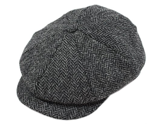 [Tweed Cap 8 Piece Charcoal Herringbone Soft Irish Wool Made in Ireland John Hanly & Co Large] (Mens Tweed Caps)