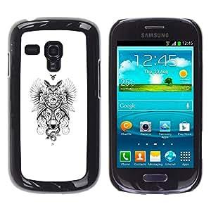 // PHONE CASE GIFT // Duro Estuche protector PC Cáscara Plástico Carcasa Funda Hard Protective Case for Samsung Galaxy S3 MINI 8190 / Búho del lobo Dreamcatcher /
