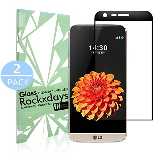[2 – Pack] LG G5 Screen Protector, Rockxdays 3D Full Coverage Ultra Clear Film Edge Tempered Glass Screen Protector for LG G5 black