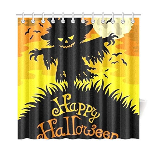 WUTMVING Home Decor Bath Curtain Happy Halloween Sign Scarecrow Polyester Fabric Waterproof Shower Curtain for Bathroom, 72 X 72 Inch Shower Curtains Hooks Included ()