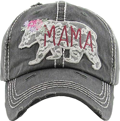 H-212-MBL06 Distressed Baseball Cap Vintage Dad Hat - Mama Bear Lace (Black) -