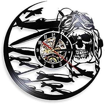 Magracy - Reloj de pared retro con diseño de esqueleto de vinilo para pared, diseño de avión
