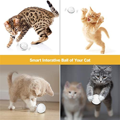 Octarch Interactive Cat Toy, USB Rechargeable Cat Toy Ball,360 Degree Automatic Rolling Pet Toy,Glitter Led Light Attact Your Kitty More Exercise and Stimulate Hunting Instinct 7
