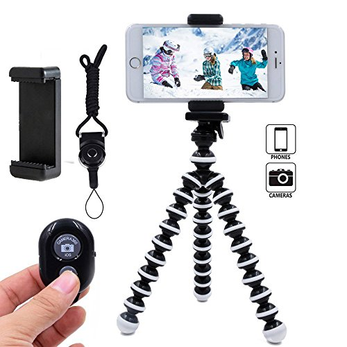 DAISEN Phone Tripod, Flexible Octopus Cell Phone Tripod for iPhone, Android Smartphone and Camera with Universal Phone Holder and Bluetooth Remote - Camera Helper