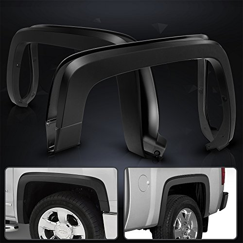 Fender Flare Fits 2014-2018 Chevy Silverado 1500 2500HD 3500HD | OE Style Black PP Injection Right Left Wheel Cover Protector Vent Trim By IKON MOTORSPORTS | 2015 2016 2017