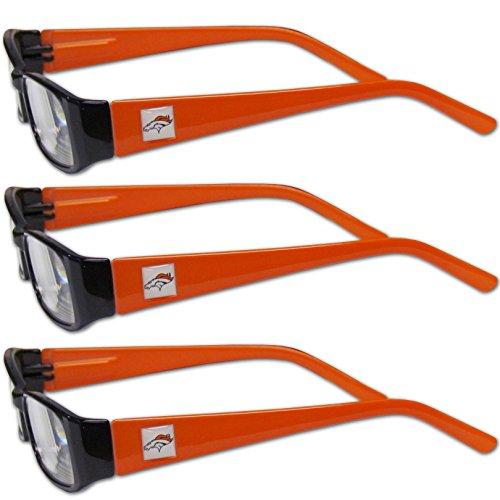 Siskiyou NFL Denver Broncos Adult Reading Glasses (3-Pack), Orange, Reading Power: +1.25