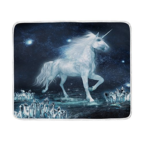 ALAZA Unicorn Running Through Crystal Plush Throws Siesta Ca