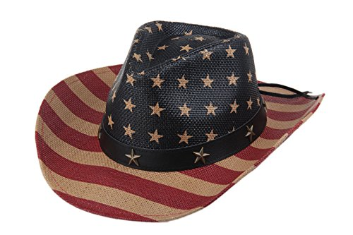 Dantiya Unisex Western American Flag Cowboy Leather Stars & Stripes Band Rodeo Hat (Brown Antique)