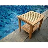 New Grade A Teak Wood Shower / Bath Room / Pool / Spa Stool Bench with Shelf