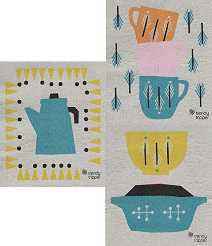Trendy Tripper Swedish Dishcloth – Anna Kovecses Midcentury Designs – Set of 3 Kettle/Cups/Bowls 51AneSoNthL